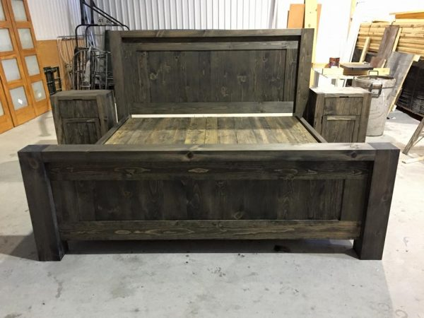 Bed pine rustic custom custom rough drawer antique modern new quebec handmade