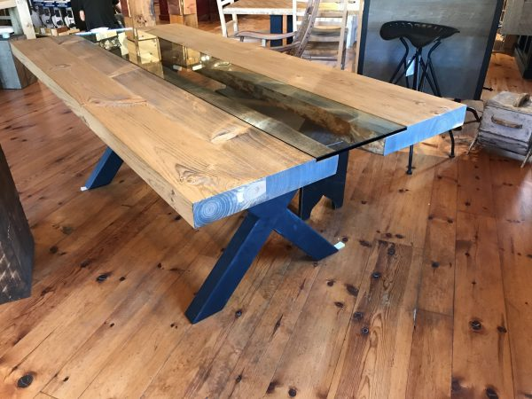 table pine pro-pin gatineau ottawa live edge rustic industrial solid metal steel iron glass white pine modern beam