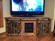 meuble télévison industriel porte de grange acier métal