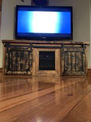 tv stand industrial barn door track metal