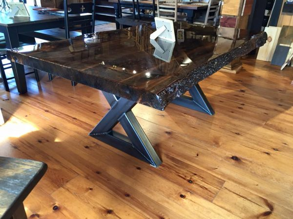 Live Edge Table With Metal Leg Pro Pin The Pine Wood